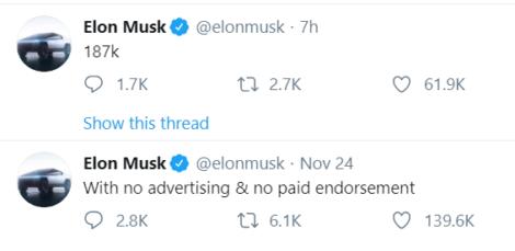 Musk CyberTruck tweet